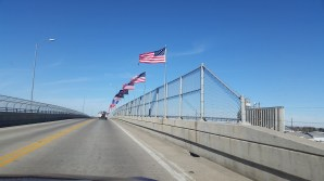 Our entrance into town was very patriotic! Flags for all branches of the Armed Services.
